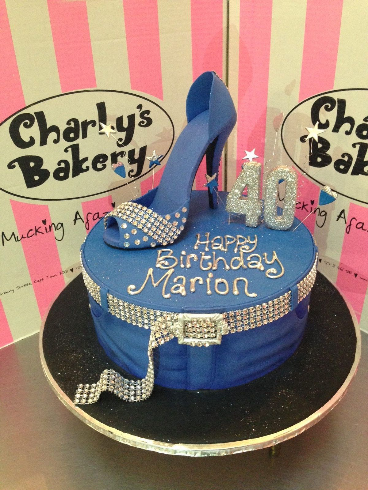 Denim diamonds themed 40th birthday cake with jeans for 40th birthday cake decoration