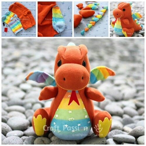 HOW TO MAKE A SOCK DRAGON....this is so adorable & love the colors ...