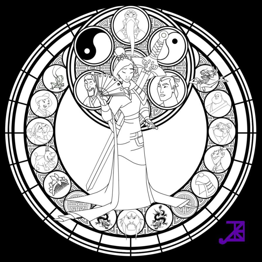 Mulan Stained Glass Disney Coloring Pages Coloring Pages Coloring Books [ 894 x 894 Pixel ]