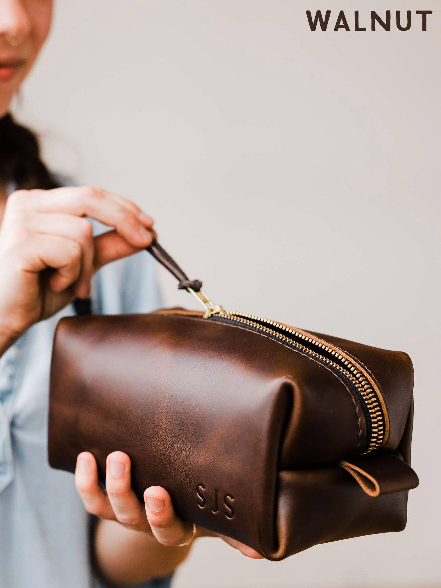 8029ee0bef Dopp Kit Bag Groomsmen Gift Leather Toiletry Bag