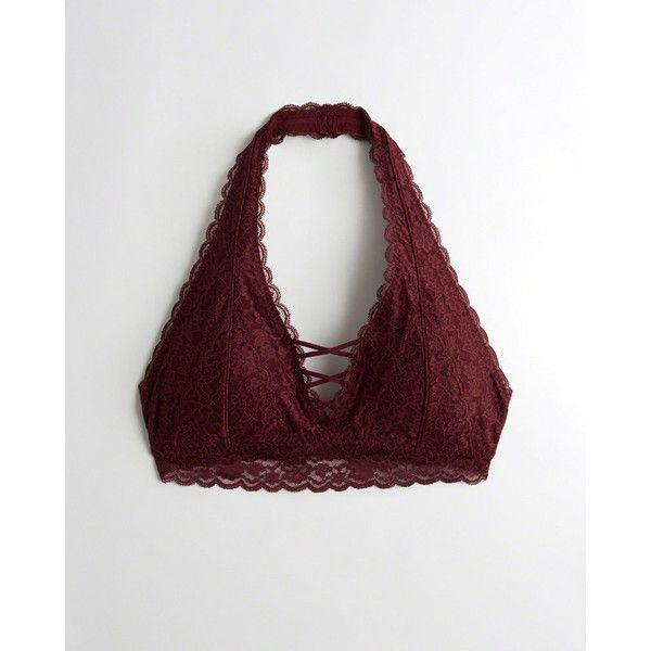 ffb6e37c0c340 Hollister Strappy Halter Bralette With Removable Pads ( 20) ❤ liked on  Polyvore featuring intimates