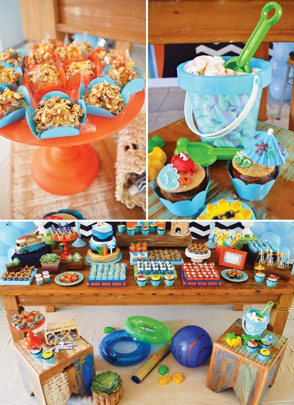 Bright Beachy Surfing Birthday Party Themed birthday parties and