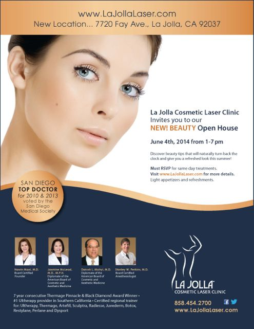 Mark Your Calendars Open House June 4 2014 From 1 7pm At La Jolla Cosmetic Laser Clinic Please Rsvp Like Laser Clinics Cosmetics Laser House Of Beauty