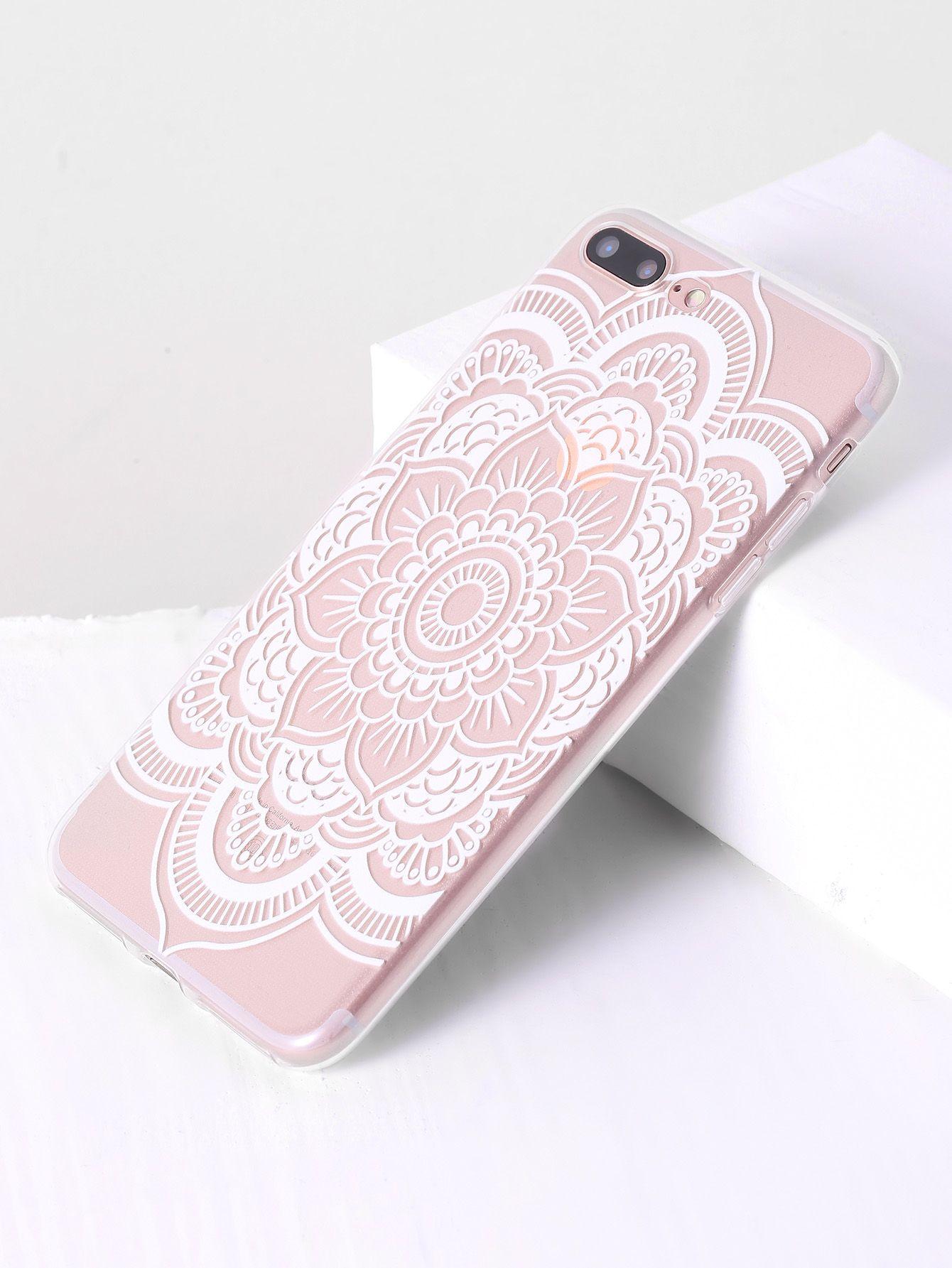 4470dbe639 Shop Lotus Flower Print Clear iPhone 7 Plus Case online. SheIn offers Lotus  Flower Print