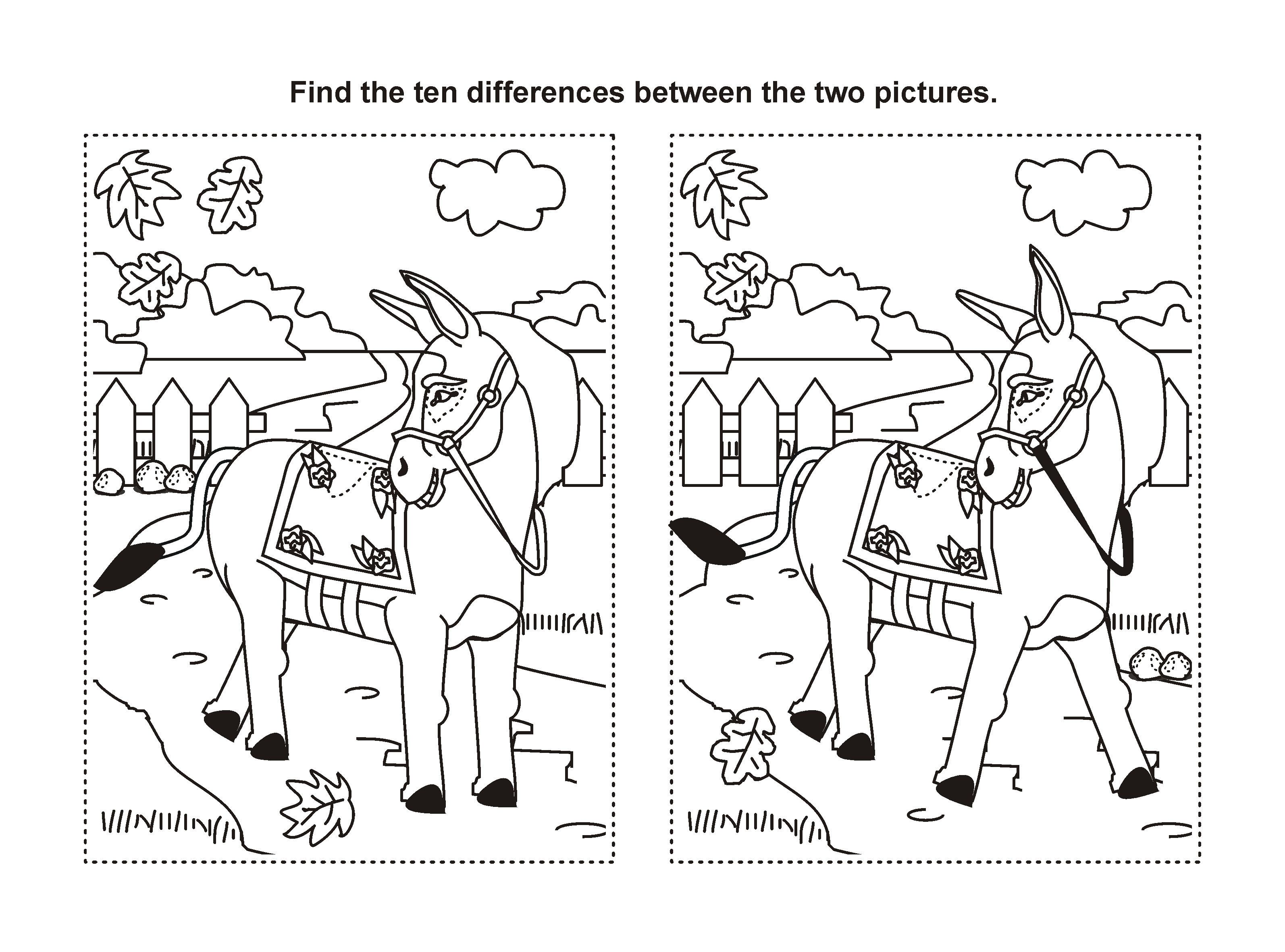 find the difference printable horse game taal visueel. Black Bedroom Furniture Sets. Home Design Ideas