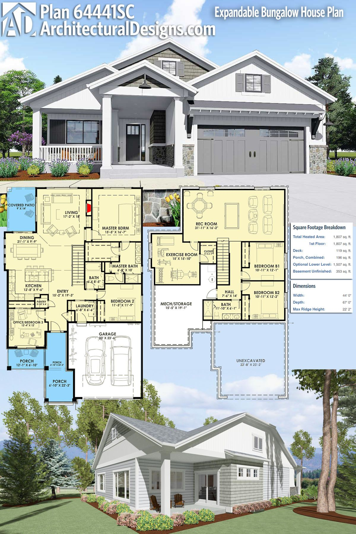 Plan 64441SC Expandable Bungalow House Plan