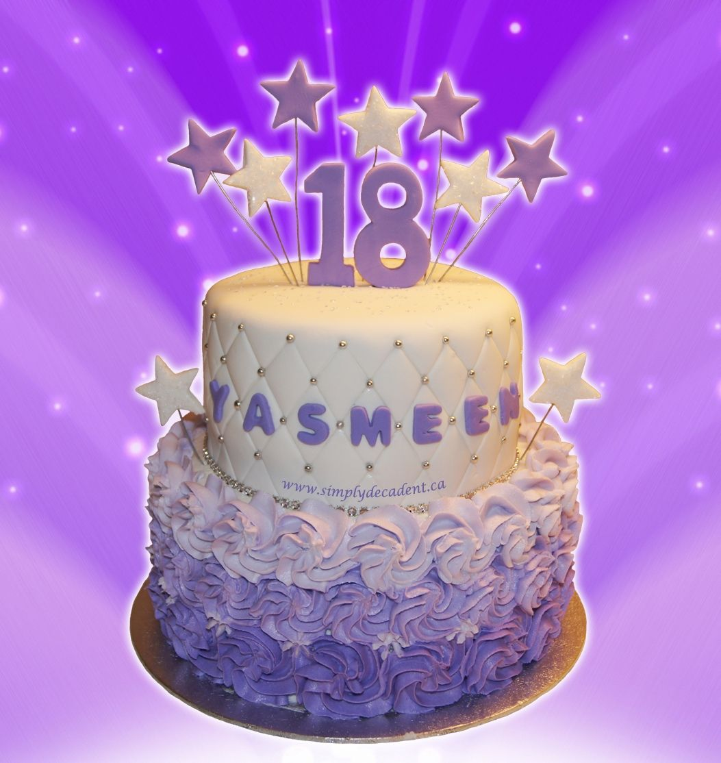 2 Tier 18th Birthday Cake With Purple Rosettes Fondant Quilting And