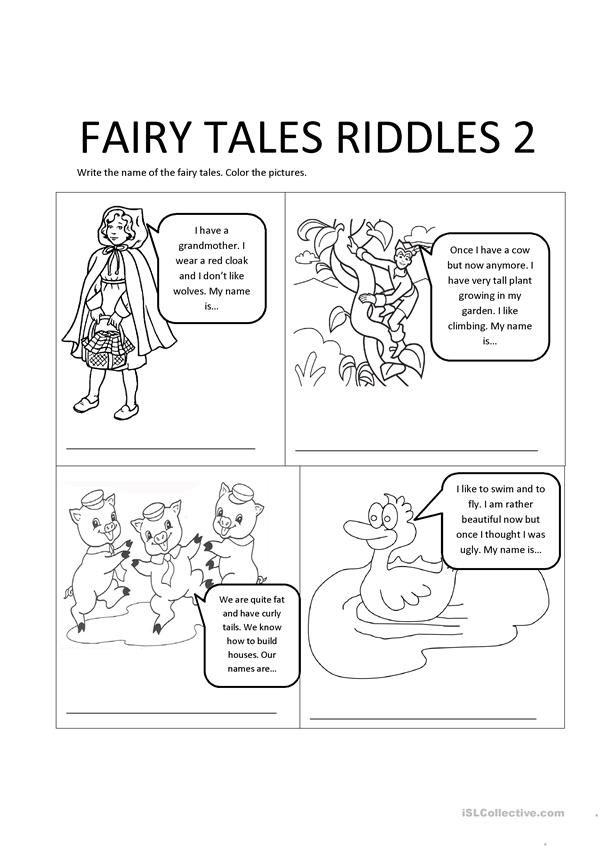 Fairy Tales Riddles 2 Kindergarten Worksheets Fairy Tales Traditional Tales