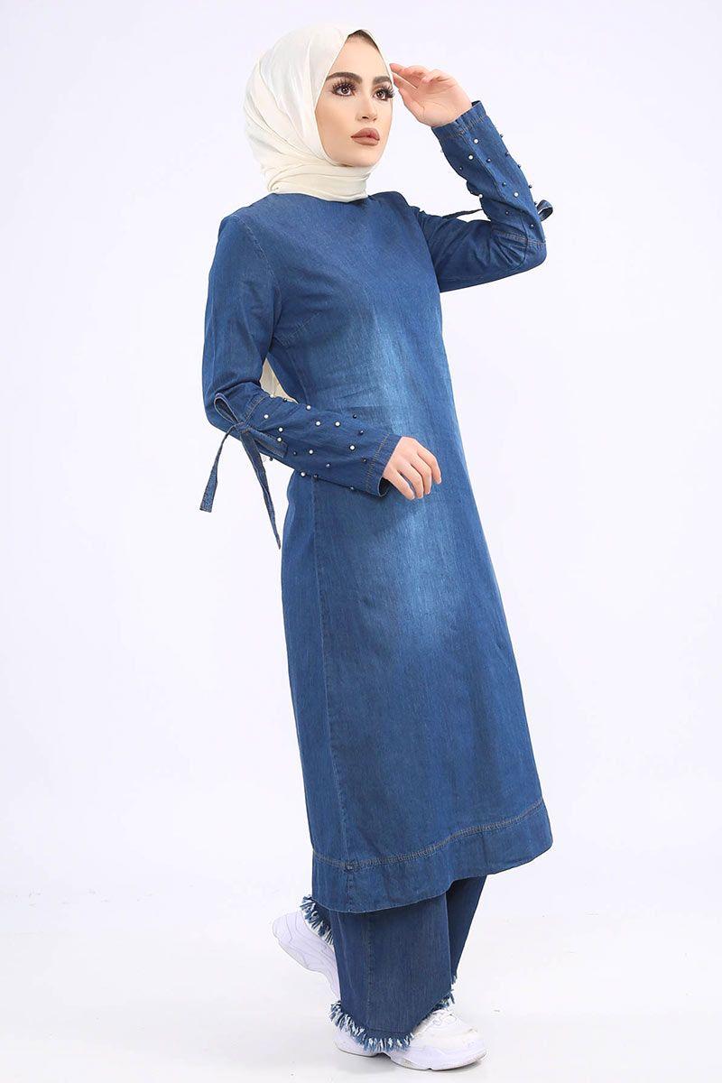 Kollari Incili Kot Kombin Tsd1230k Koyu Kotlar Tunik Pantolon