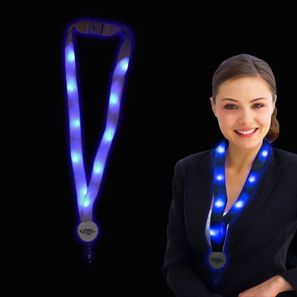 "Blue 32"" Light Up LED Glow Flat Lanyard 