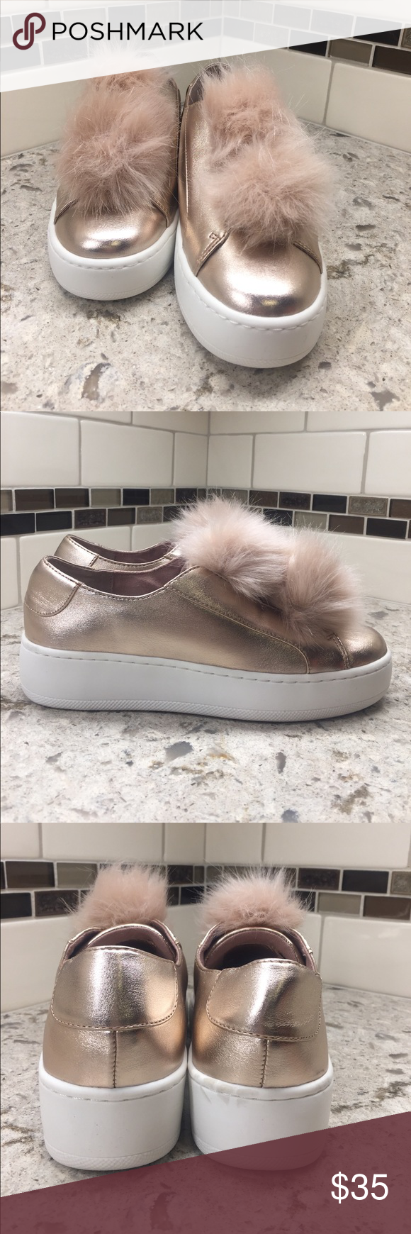 "a7b45865632 Steve Madden ""Breeze"" rose gold sneakers New in box super fun rose gold  colored leather sneakers with fun pink fur puff embellishment."