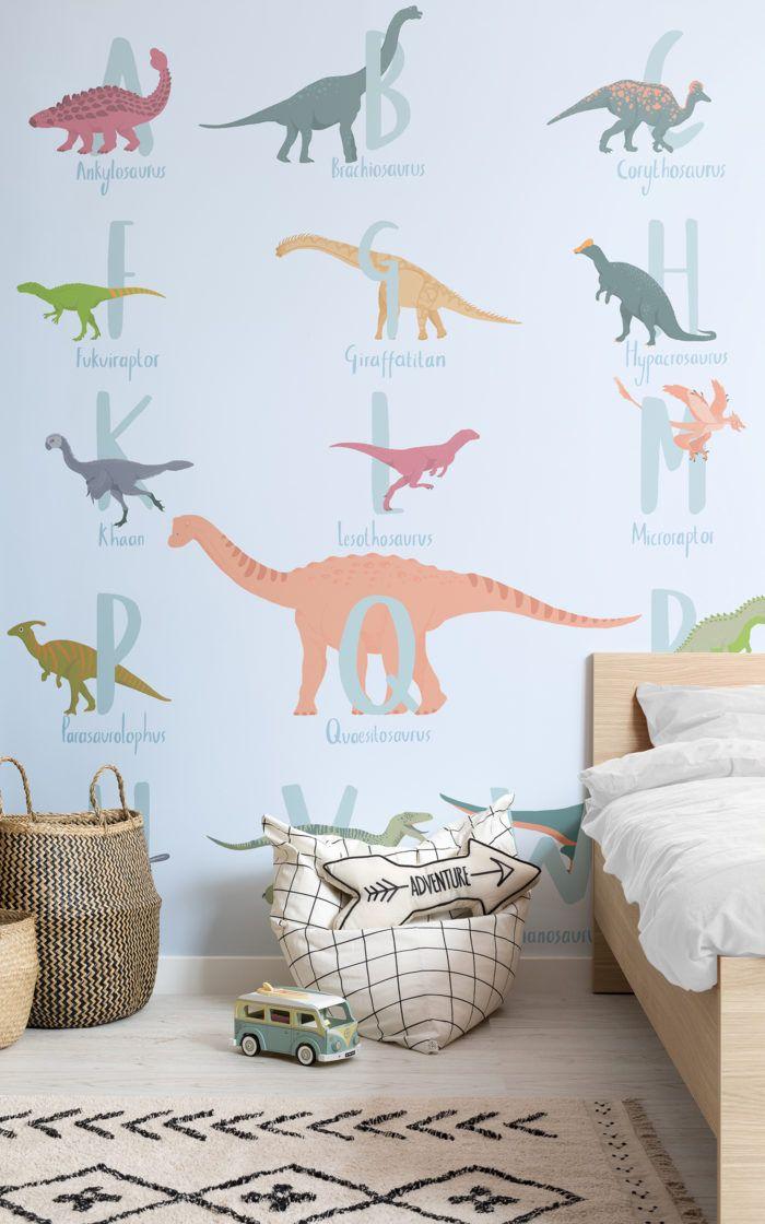 Blue Cartoon Dinosaur Alphabet Wallpaper Mural #dinosaurnursery