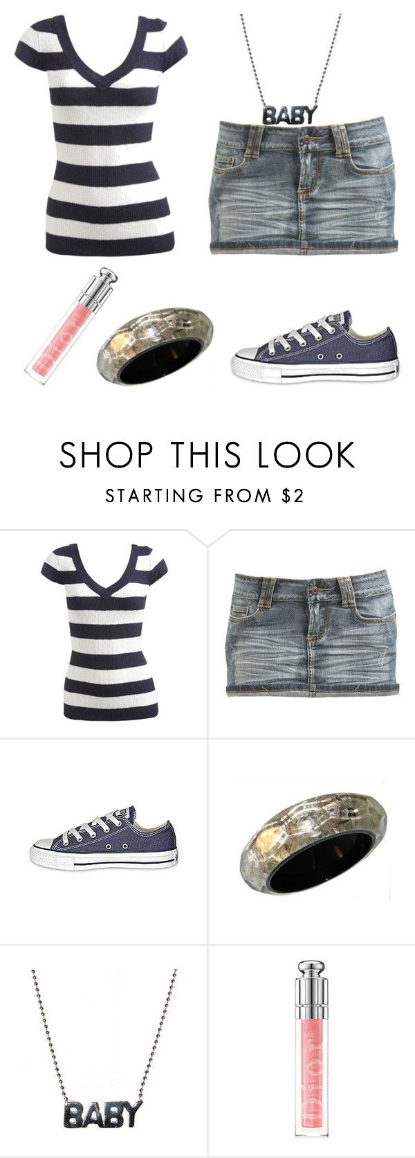 """""""Untitled"""" by miizz-starburst ❤ liked on Polyvore featuring Wet Seal, Converse and Christian Dior"""