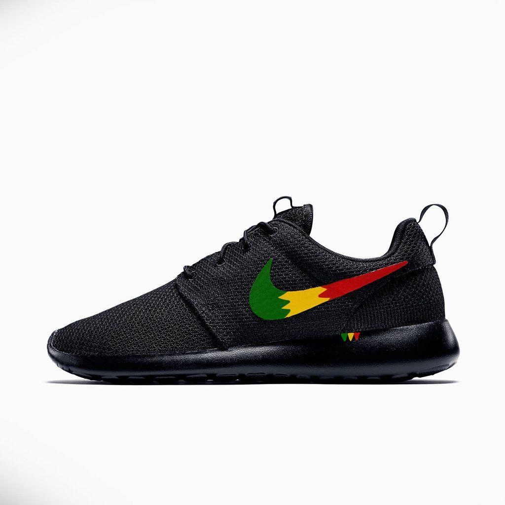 Nike Roshe Run Custom Rastafari Design, Rasta Design Roshe, Red Yellow and  Green,