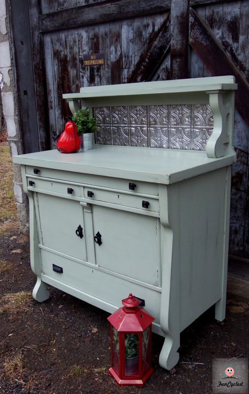 Sage Green Sideboard Buffet By FunCycled