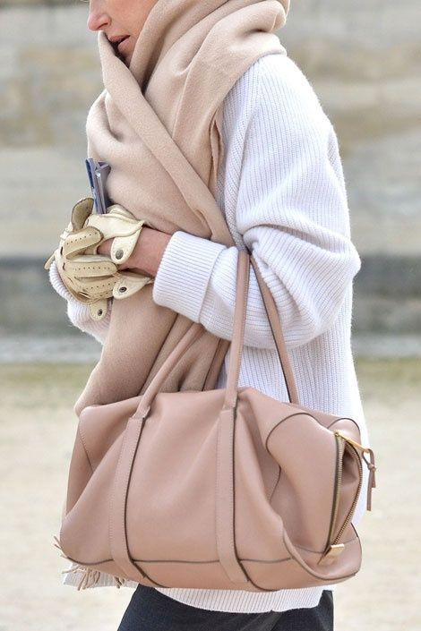 Blush scarf and tote bag with beautiful white coat.