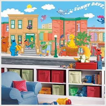Large Wall Murals For Nursery And Toddler Rooms Elmo And Sesame Street Sesame Street Room Sesame Street Bedroom Toddler Rooms