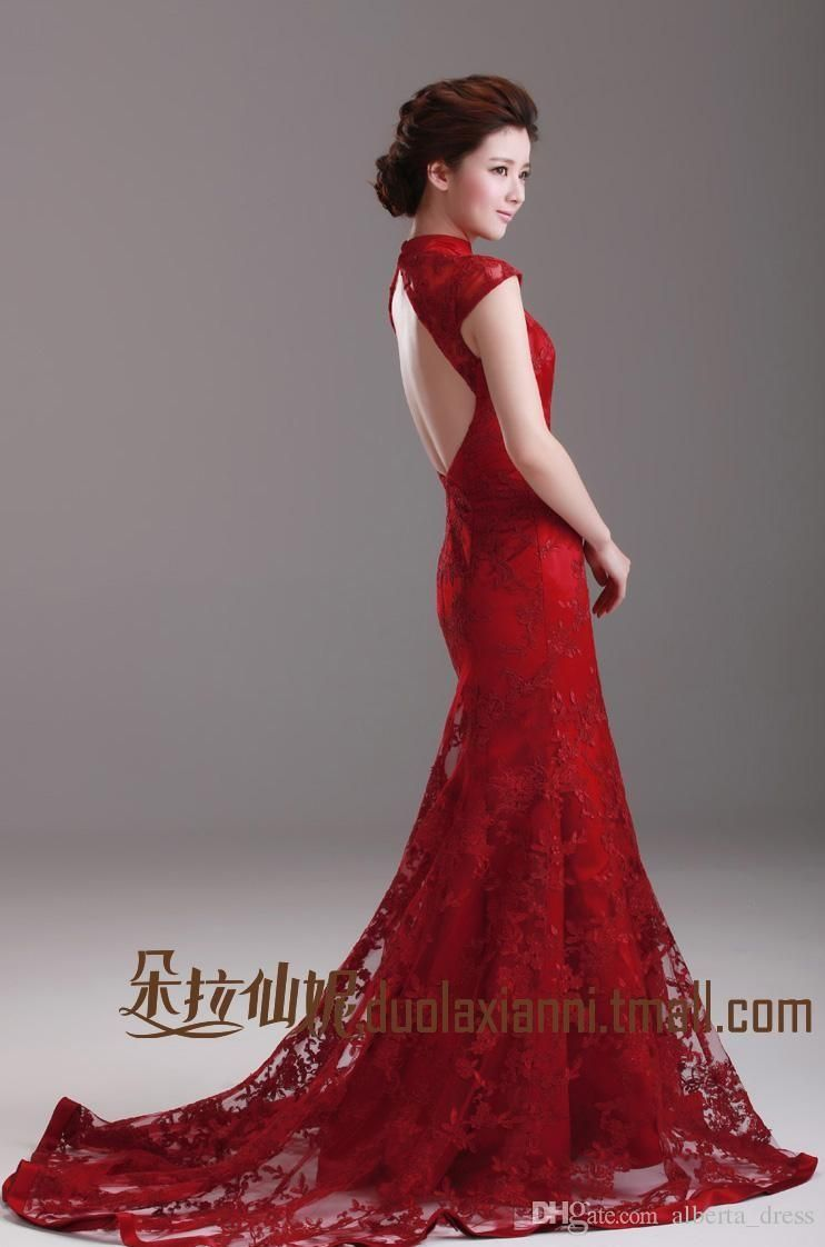 Discount2019 Wedding Dresses Chinese Red Mermaid Cheongsam Dress High Neck Cap Sleeve Classical Vintage Lace Wedding Dress Backless Sweep Train Brid From Albert Ball Gowns Wedding Wedding Dress Alterations Lace Wedding [ 1122 x 742 Pixel ]