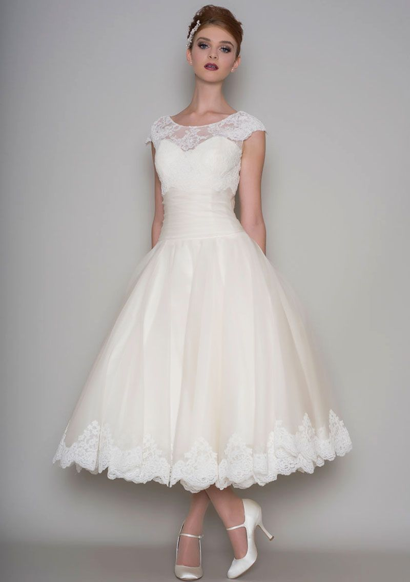 Illusion Cap Sleeve Classic Tea Length Ivory Lace and Tulle Wedding