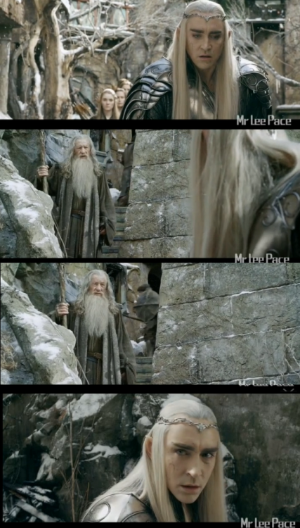 Lee Pace as Thranduil and Ian McKellen as Gandalf in The Hobbit Trilogy (2012-2014)