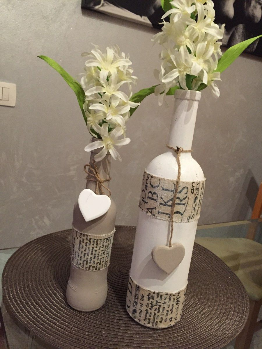 Decorare bottiglie in stile shabby chic make and have for Decorare stanza shabby chic