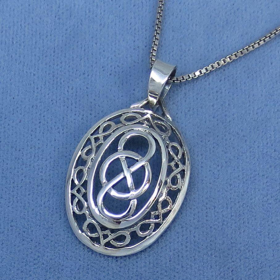 Infinity symbol celtic knot pendant necklace sterling silver