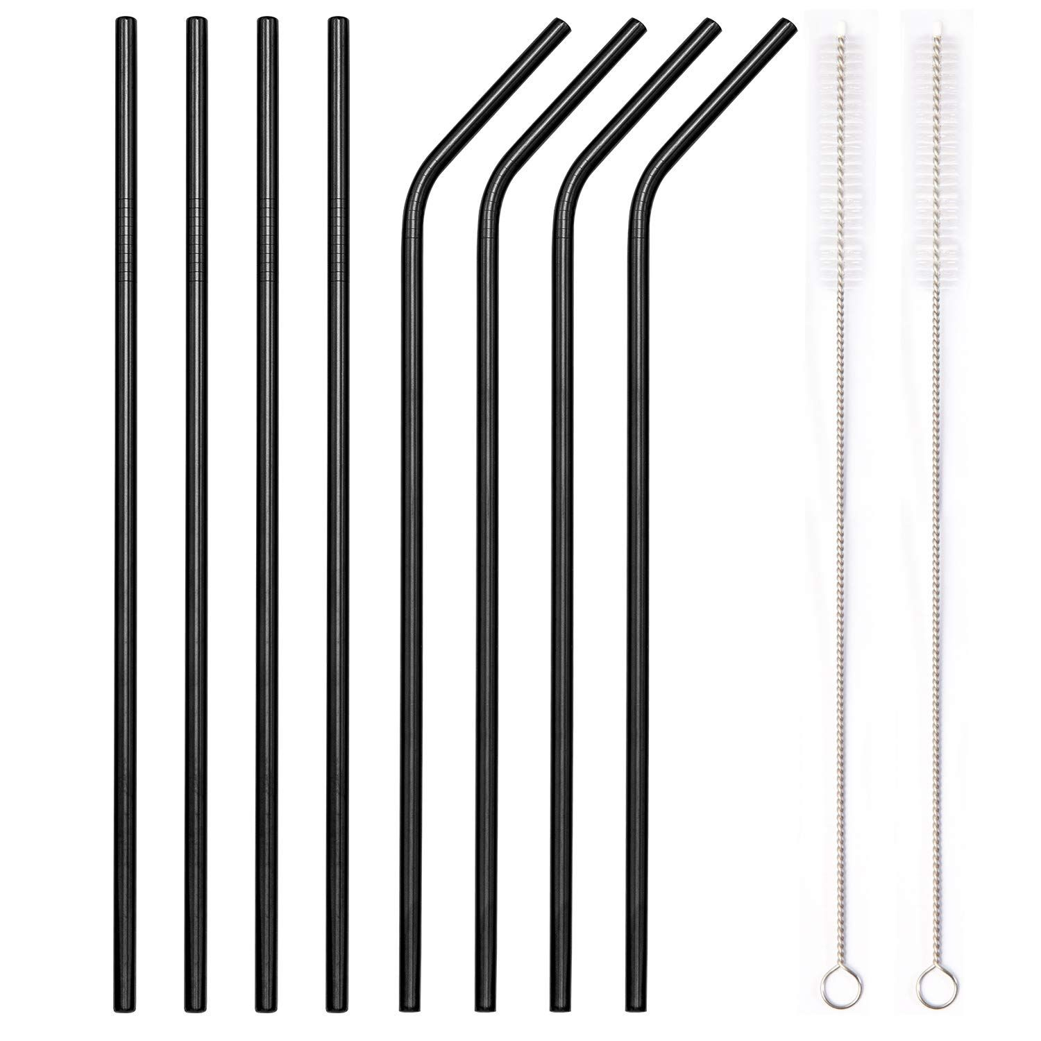 Reusable Stainless Steel Metal Straws Set Ultra Long 10.5 Inch Wide 8mm w// Brush