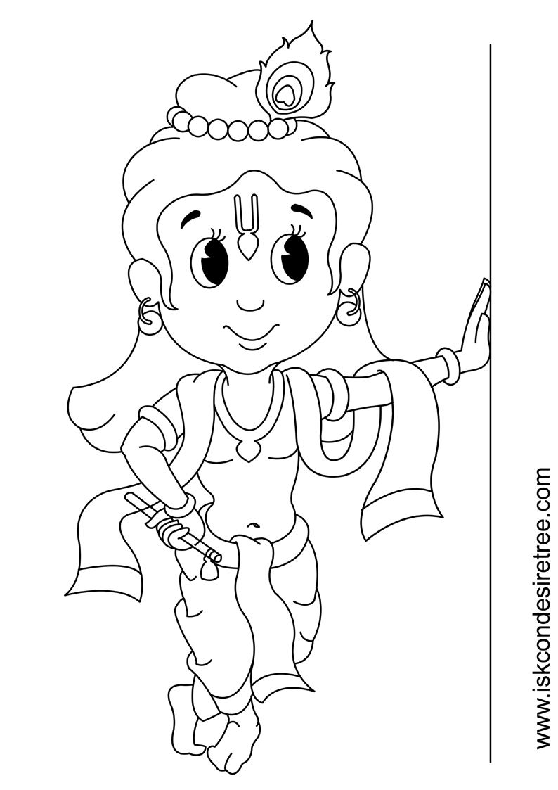Coloring Page For Kids Little Krishna Krishna Drawing Art Drawings For Kids