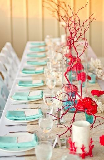 Red And Turquoise Make A Statement Summer Weddings Pinterest