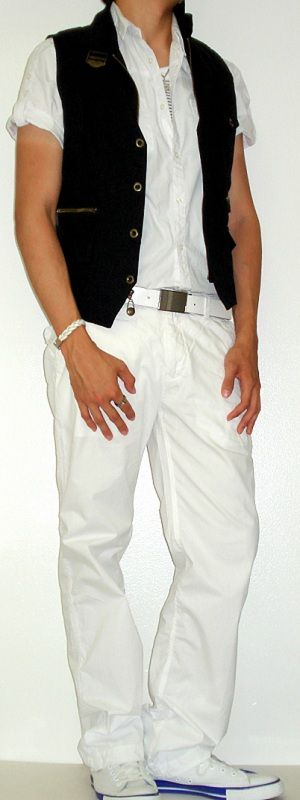 Black Shirt With White Pants - Jon Jean