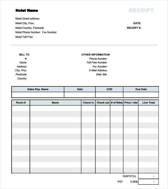 Exclusively designed for hotel industry these Hotel Receipt – Professional Receipt