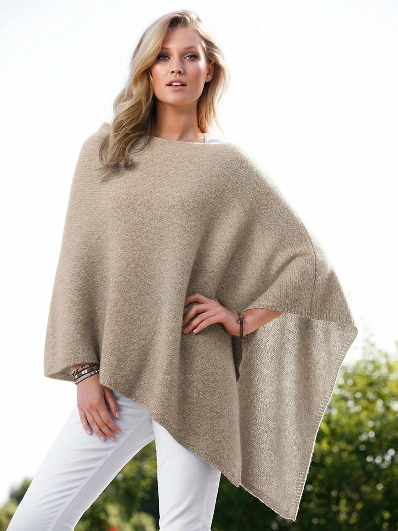 Photo of Damenmode Poncho lang beige super elegant