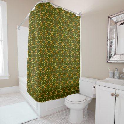 Retro Shower Curtain Avocado Green Yellow Orange Shower Gifts