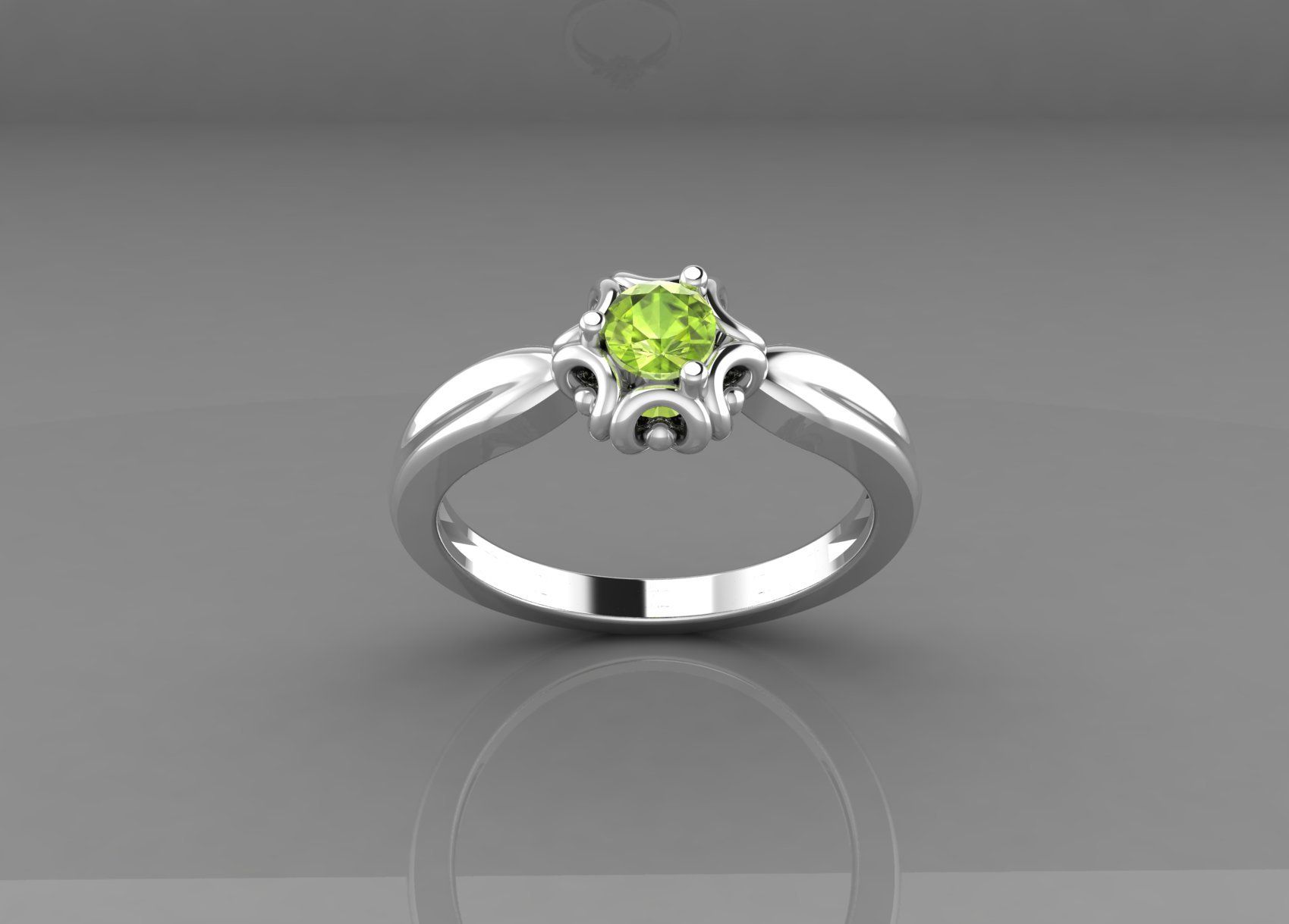Natural Peridot Silver Girls Ring 925 Sterling Silver Stylish Girls Ring Engagement Ring August Birthstone Ring Round Cut Gemstone Ring
