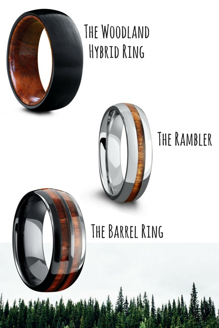 The Woodland Wedding Ring Collection Wood Wedding rings for the