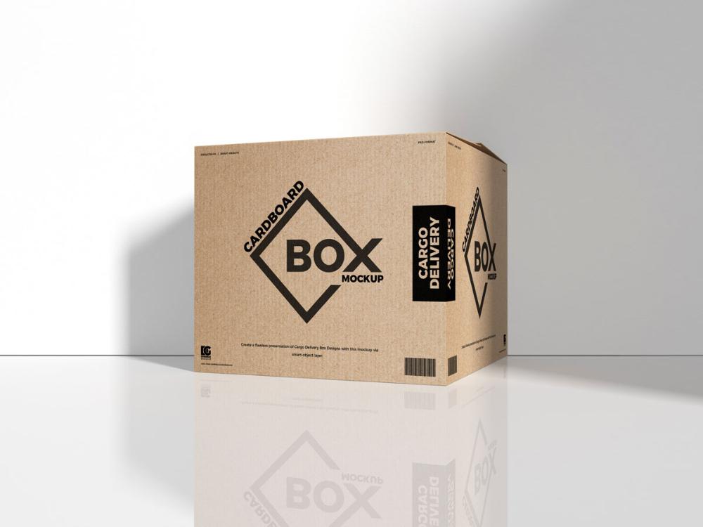 Download Free Cargo Delivery Packaging Box Mockup Design - Mockup ...