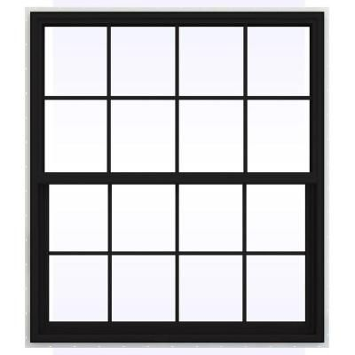 JELD-WEN 47.5 in. x 59.5 in. V-4500 Series Single Hung Vinyl Window with Grids - Black-THDJW143900432 - The Home Depot