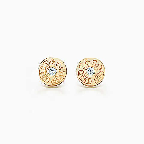 Tiffany 1837™ circle earrings in 18k gold with diamonds.