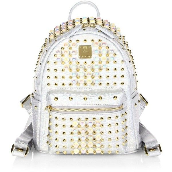MCM Stark Pearly Studded Metallic Leather Backpack ($1,950) ❤ liked on Polyvore featuring bags, backpacks, white backpack, studded backpack, leather daypack, mcm and real leather backpack
