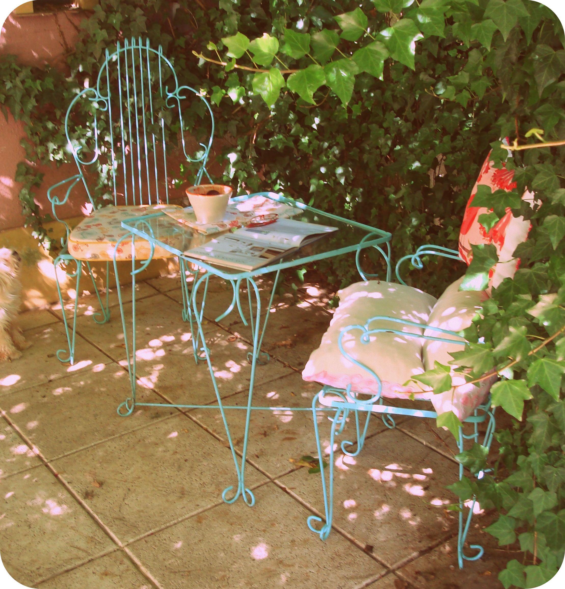 juego de mesa y sillas de hierro blanco, para exterior o interior ...