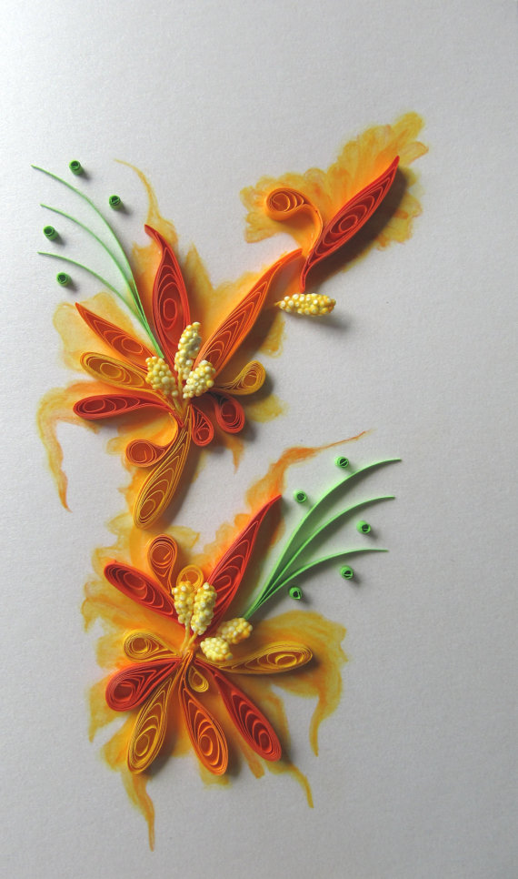 Handmade painting and quilling greeting card birthday card a beautiful handmade greeting card painting and quilling together original and amazing way to show your feelings to someone for any special m4hsunfo