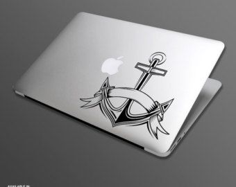 Macbook sticker Anchor. Tattoo style nautical cut vinyl decal for Macbook Air Pro and Retina display 026