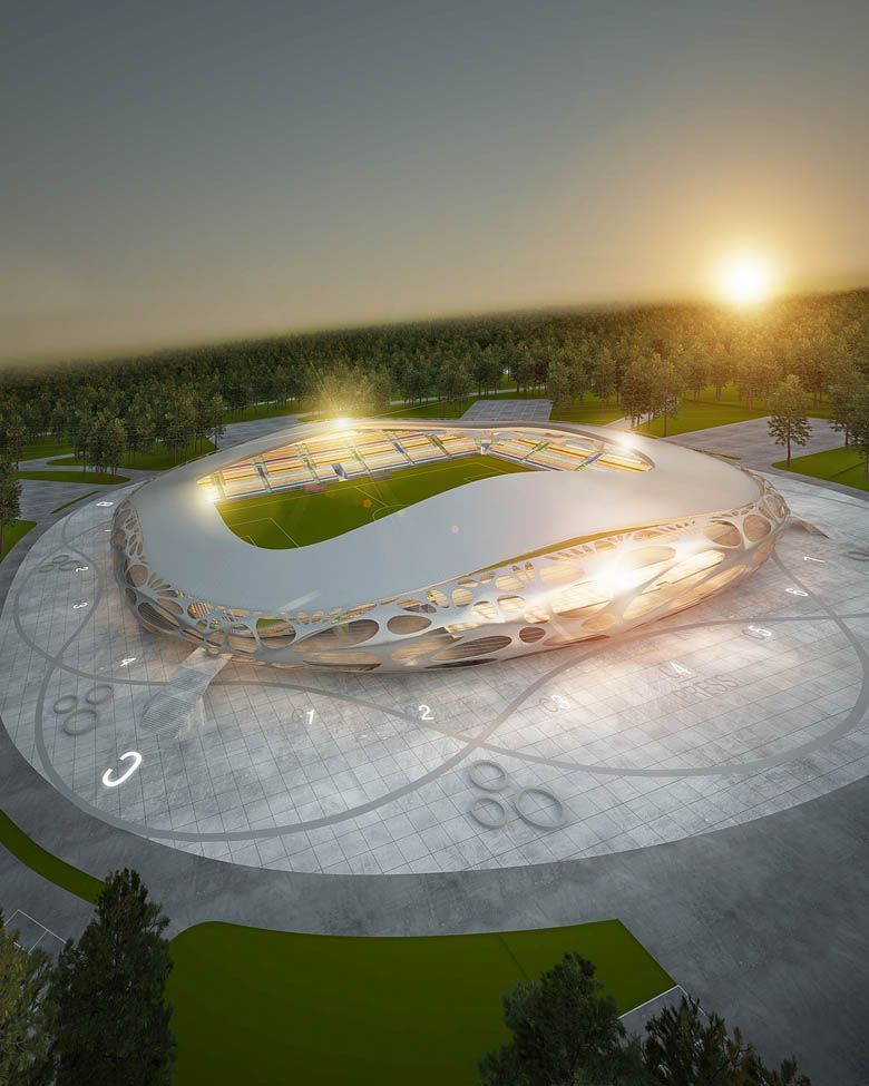 Organic Mesh Football Stadium FC Bate Borisov | OFIS Architects Design