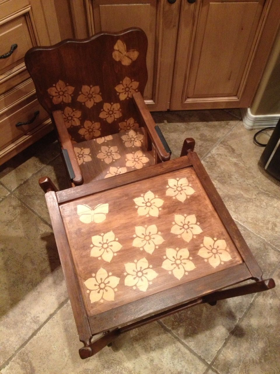 JustBeKoz.com: 50's to 60's Baby High Chair Stenciled with Flowers and Butterflies Pic 2 of 2