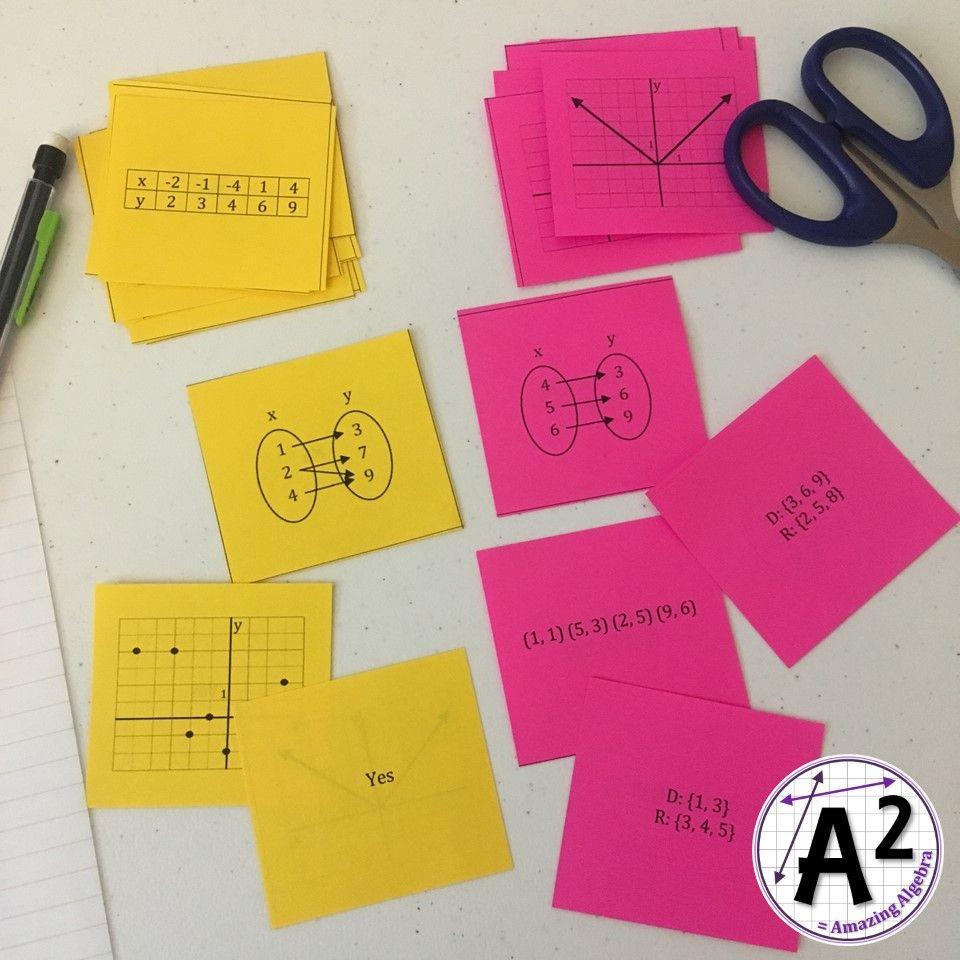 Algebra 1 determining and domainrange function quiz