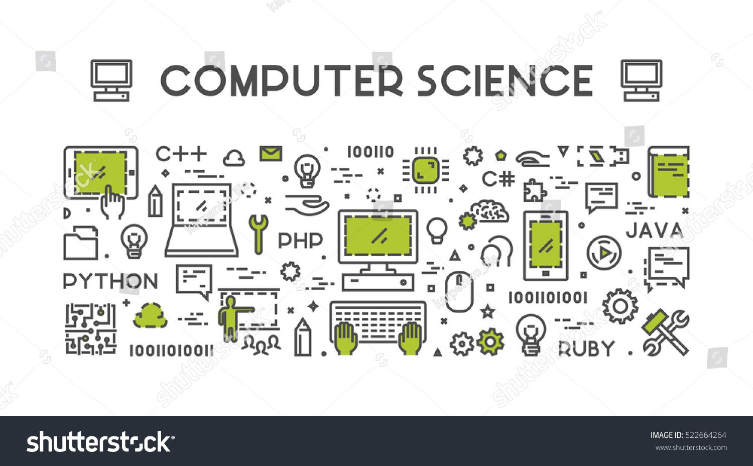 Line Web Concept For Computer Science Banner For