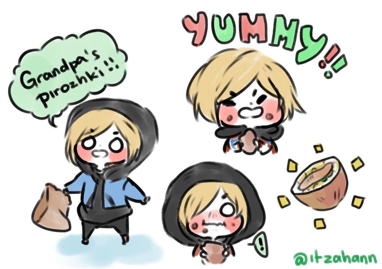 """itzahann: """"Yurio loves his grandpa's pirozhki!! """""""