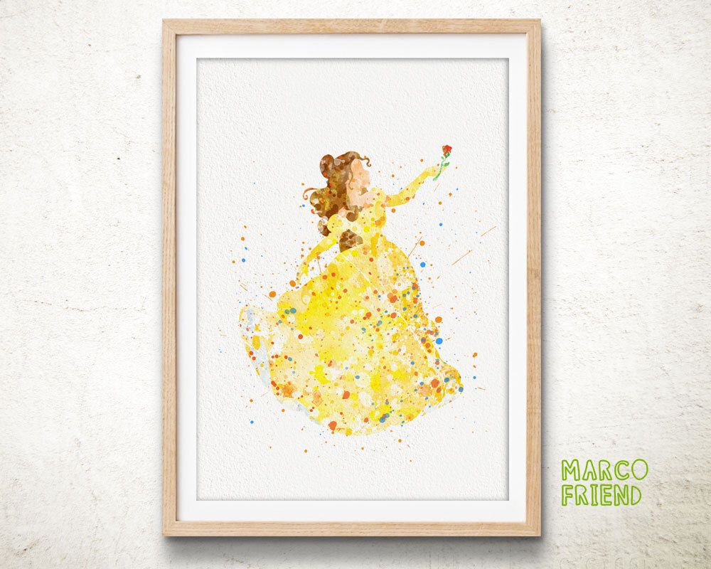 Disney Beauty and the Beast Princess Belle Watercolor Poster Print ...