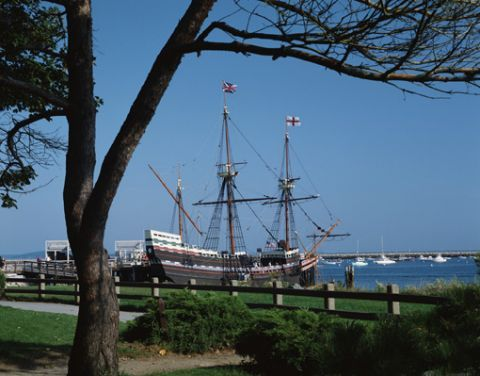 Mayflower II, full sized replica of the original, at anchor in Plymouth, Massachusetts