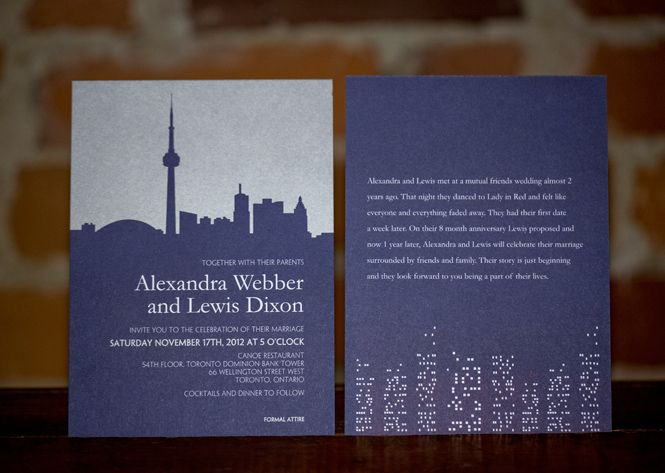 Laura k toronto skyline wedding invitation and reply card other laura k toronto skyline wedding invitation and reply card other city skylines available filmwisefo
